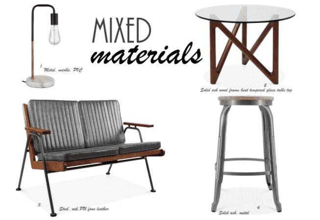 Bring trenden af udsmykning med materiale mix til dit hjem