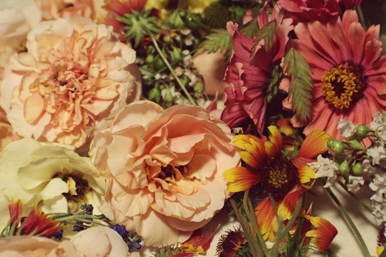 Varm kolde hjerter med smukke blomster